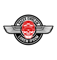 emblem with winged skull design element vector image