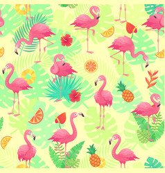 exotic pink flamingos tropical plants and jungle vector image
