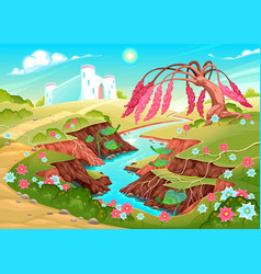 fantasy landscape with river tree and castle vector image