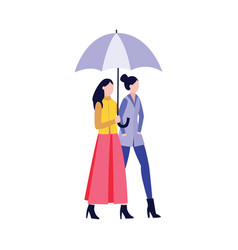 fashion girlfriends walking together flat cartoon vector image