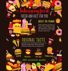 Fast food restaurant meal poster for menu design vector