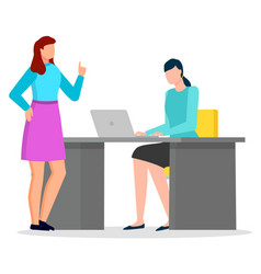 females discussing and working with laptop vector image