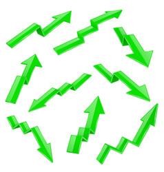 Financial indication arrows set green 3d shiny vector
