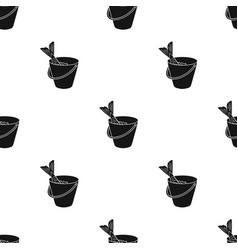Fish in bucket icon in black style isolated on vector