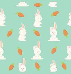 flat funny bunny seamless pattern vector image