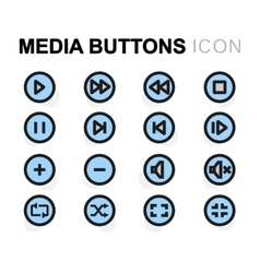 flat media buttons icons set vector image