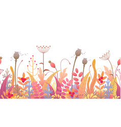 floral line horizontal seamless border with vector image