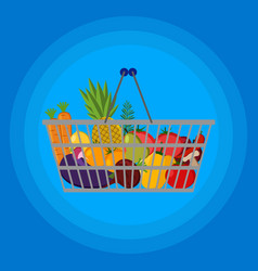 full supermarket shopping basket with food vector image