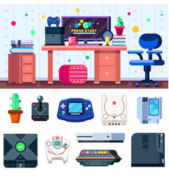 game room set up gamer workplace with set of vector image