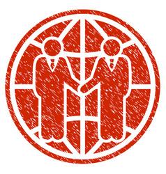 Global partnership grunge icon vector
