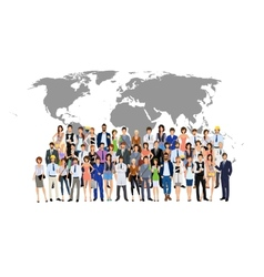 Group people world map vector image
