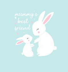 Hand drawn bunny print design vector