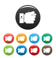 Hand greed icons set color vector