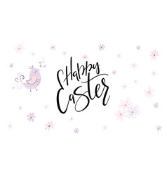 Hand lettering happy easter phrase with vector