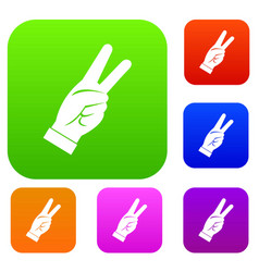 hand showing victory sign set color collection vector image