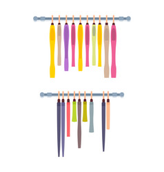 Hangers with female dresses and shirts poster vector