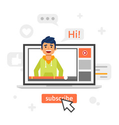 happy blogger man in a laptop vector image