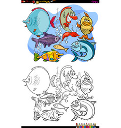 Happy fish animal characters group color book vector
