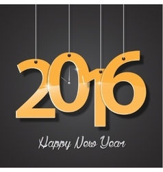 Happy new year golden 2016 creative greeting card vector image