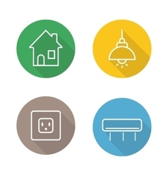 Home interior linear flat icons set vector