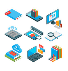isometric icons of electronic books and other vector image