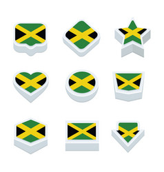 Jamaica flags icons and button set nine styles vector