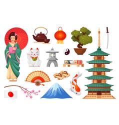Japanese cultural symbols set woman in kimono vector