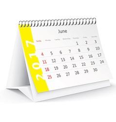 June 2017 desk calendar - vector