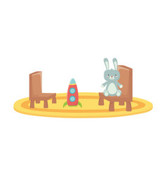 Kids toy rabbit furry and plastic rocket chairs vector