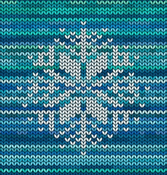 Knitted seamless pattern with snowflake vector