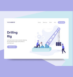 Landing page template of drilling rig concept vector