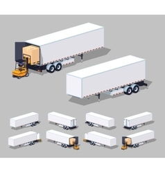Large white cargo trailer Loading or unloading vector image
