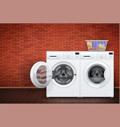 Laundry room of brick wall and washing machine vector