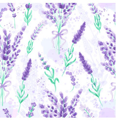 lavender seamless pattern watercolor imitation vector image