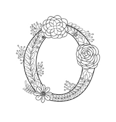 letter o coloring book for adults vector image