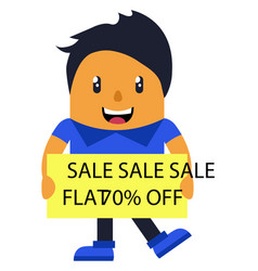 man promoting sale on white background vector image