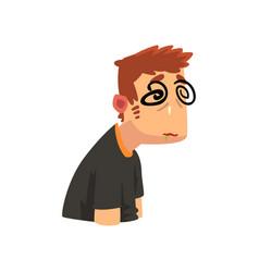man with dizziness disease of the head migraine vector image