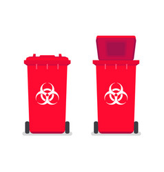 Medical waste bin contaminated waste sign vector