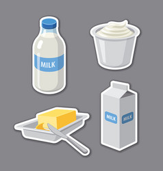 milk products stickers vector image