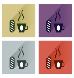 Modern flat icons collection cup of coffee vector