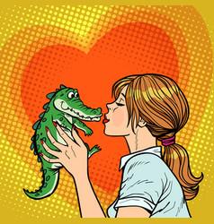 mom kisses crocodile naughty baby concept vector image