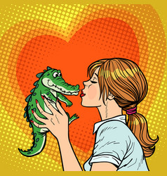 mom kisses crocodile naughty baconcept vector image