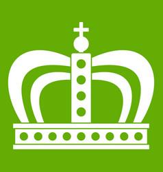 Monarchy crown icon green vector