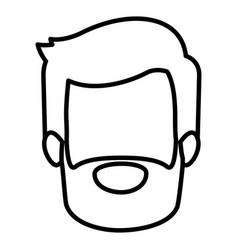 monochrome contour of faceless young man with vector image