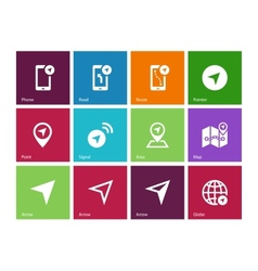 Navigator icons on color background vector image