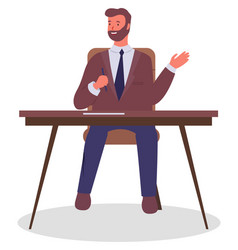 office worker at table with pen in hand vector image
