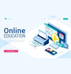 Online education isometric landing distant courses vector