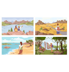 People resting on nature at seaside forest river vector