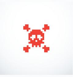 Pixel skull icon vector