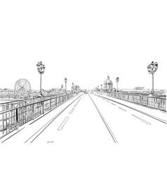 Pont saint pierre toulouse france hand drawn vector